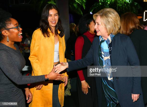 Aisha Harris and Shaandiin Tome greet Former U.S. Secretary of State and U.S. Senator, Hillary Rodham Clinton during the 2020 Women at Sundance...