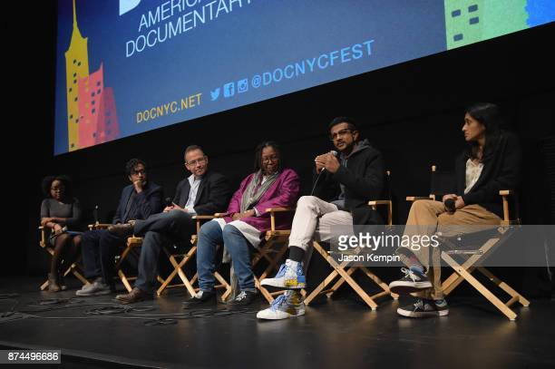 Aisha Harris Hari Kondabolu Michael Melamedoff Whoopi Goldberg Utkarsh Ambudkar and Aparna Nancherla speak onstage during truTV Presents 'The Problem...