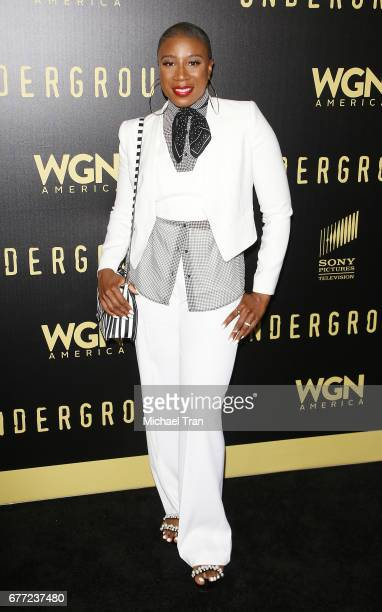 """Aisha Hinds arrives at WGN America's """"Underground"""" FYC event held at The Landmark on May 2, 2017 in Los Angeles, California."""