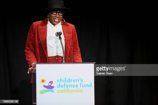 Aisha Hinds speaks at the Children's Defense Fund California's 28th Annual Beat The Odds Awards at Skirball Cultural Center on December 6 2018 in Los...