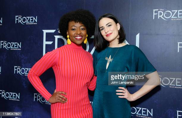 Aisha Jackson and Alyssa Fox attend cast of 'Frozen' one year celebration on Broadway on March 24 2019 in New York City