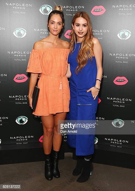 Aisha Jade and Lianna Perdis attend the launch of 'Total Bae' for Napoleon Perdis on April 28 2016 in Sydney Australia