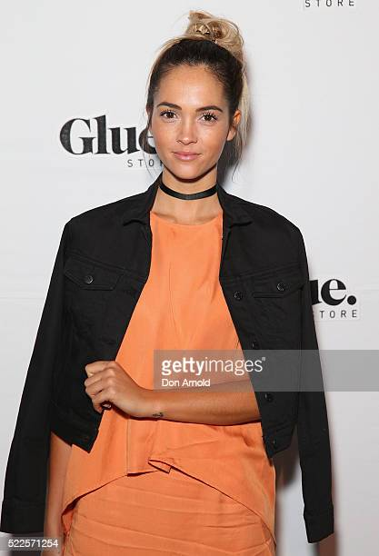 Aisha Jade arrives ahead of the Glue Store Denim Party on April 20 2016 in Sydney Australia