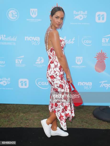 Aisha Jade arrives at Tropfest at Parramatta Park on February 11 2017 in Sydney Australia