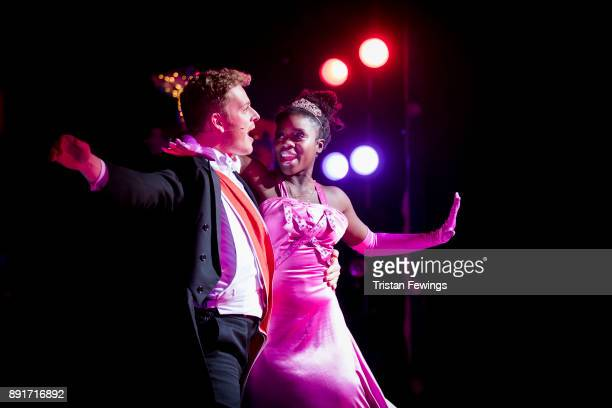 Aisha Jawando as Cinderella and Chris Jenkins as Prince Charming during a performance of Cinderella at Hackney Empire on December 13 2017 in London...