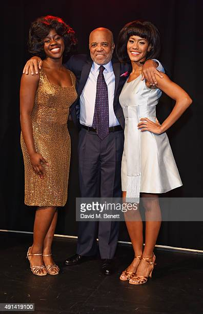 Aisha Jawando Berry Gordy and Lucy St Louis attend the Motown The Musical photocall at The Hospital Club on October 5 2015 in London England