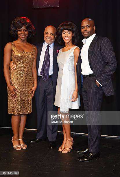 Aisha Jawando Berry Gordy Lucy St Louis and Cedric Neal attend the Motown The Musical photocall at The Hospital Club on October 5 2015 in London...