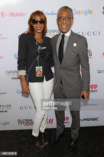 Aisha McShaw and Rev Al Sharpton attends the 2015 Global Citizen Festival to end extreme poverty by 2030 in Central Park on September 26 2015 in New...