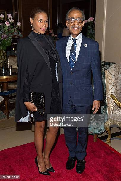 Aisha McShaw and Reverend Al Sharpton attend Aretha Franklin's Birthday Celebration at the Ritz Carlton Hotel on March 22 2015 in New York City