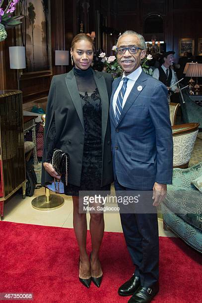 Aisha McShaw and Reverend Al Sharpton attend the Aretha Franklin Birthday Celebration at the Ritz Carlton Hotel on March 22 2015 in New York City