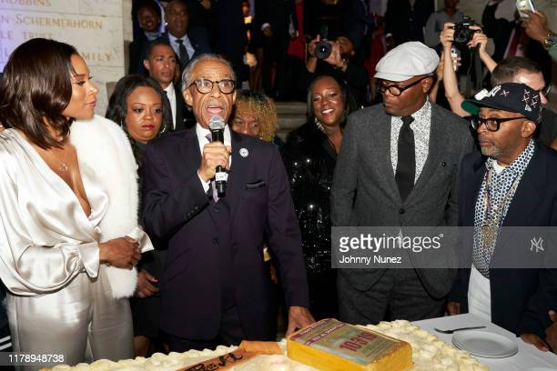 Aisha McShaw Ashley Sharpton Reverend Al Sharpton Dominique Sharpton Samuel L Jackson and Spike Lee attend Reverend Al Sharpton's 65th Birthday...
