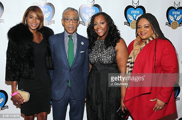 Aisha McShaw Honoree Reverend Al Sharpton Dominique Sharpton and Ashley Sharpton pose for a photo at the 2016 Franciscan Handmaids Of The Most Pure...