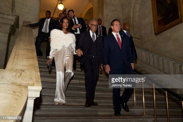 Aisha McShaw Reverend Al Sharpton and Governor Andrew Cuomo attend Reverend Al Sharpton's 65th Birthday Celebration at New York Public Library on...