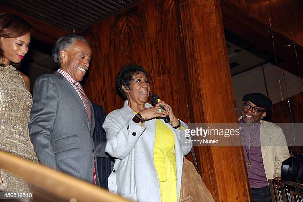 Aisha McShaw Reverend Al Sharpton Aretha Franklin and Spike Lee celebrate Al Sharpton's 60th birthday at Four Seasons Hotel New York on October 1...