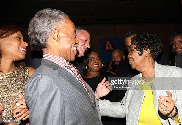 Aisha McShaw Reverend Al Sharpton NYC Mayor Bill de Blasio Ashley Sharpton and Aretha Franklin celebrate Al Sharpton's 60th birthday at Four Seasons...