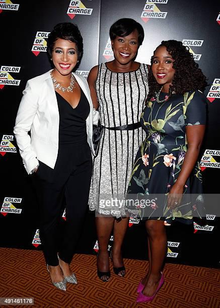 Aisha Moodie-Mills, Correspondent Joy Reid and Danielle Moodie-Mills attend ColorofChange.org 10 Year Anniversary Gala at Gotham Hall on October 5,...