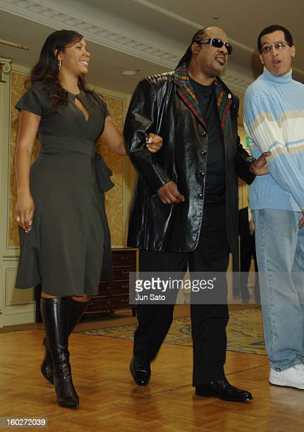 Aisha Morris and Stevie Wonder during Stevie Wonder Holds a Press Conference in Tokyo to Promote His New Album A Time 2 Love November 2 2005 at The...