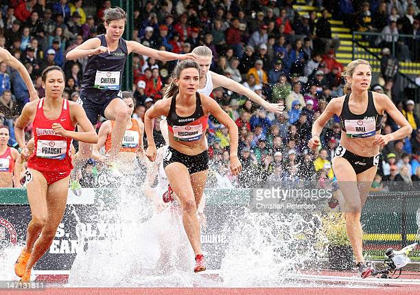 Aisha Praught, Ashley Higginson and Sara Hall compete in the women's 3000 meter steeplechase premil during Day Four of the 2012 U.S. Olympic Track &...