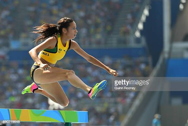 Aisha Praught of Jamaica competes during the Women's 3000m Steeplechase Final on Day 10 of the Rio 2016 Olympic Games at the Olympic Stadium on...