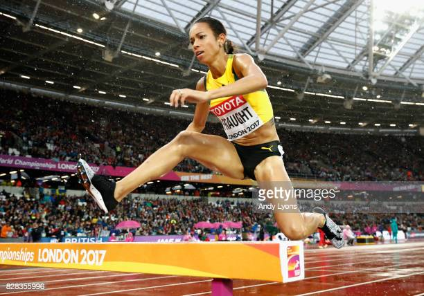 Aisha Praught of Jamaica competes in the Women's 3000 metres Steeplechase heats during day six of the 16th IAAF World Athletics Championships London...