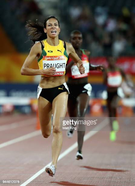 Aisha Praught of Jamaica races to the line to win gold in the Women's 3000 metres Steeplechase final during athletics on day seven of the Gold Coast...