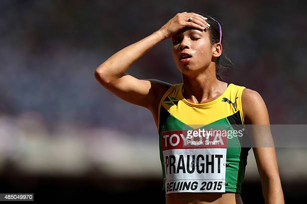 Aisha Praught of Jamaica reacts after competing in the Women's 3000 metres steeplechase heats during day three of the 15th IAAF World Athletics...