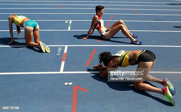 Aisha Praught of Jamaica reacts after the Women's 3000m Steeplechase final on Day 10 of the Rio 2016 Olympic Games at the Olympic Stadium on August...
