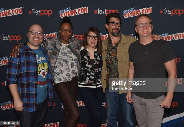 Aisha Tyler Amber Nash Lucky Yates and Matt Thompson attend the Archer Danger Island Screening and QA panel during 2017 New York Comic Con Day 3 on...