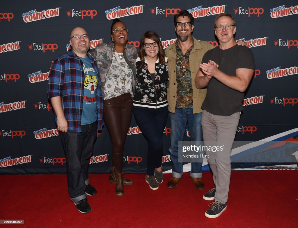 Aisha Tyler, Amber Nash, Lucky Yates and Matt Thompson attend the Archer: Danger Island - Screening and Q&A panel during 2017 New York Comic Con - Day 3 on October 7, 2017 in New York City.