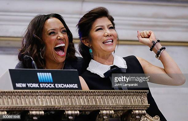 Aisha Tyler and Julie Chen of CBS' The Talk ring the closing bell at the New York Stock Exchange on December 9 2015 in New York City
