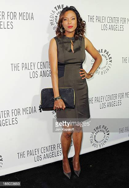 Aisha Tyler arrives at The Paley Center for Media Hosts 2013 Benefit Gala Honoring FX Networks on October 16 2013 in Los Angeles California