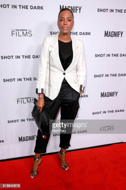 Aisha Tyler attends Magnify and Fox Sports Films' Shot In The Dark premiere documentary screening and panel discussion at Pacific Design Center on...