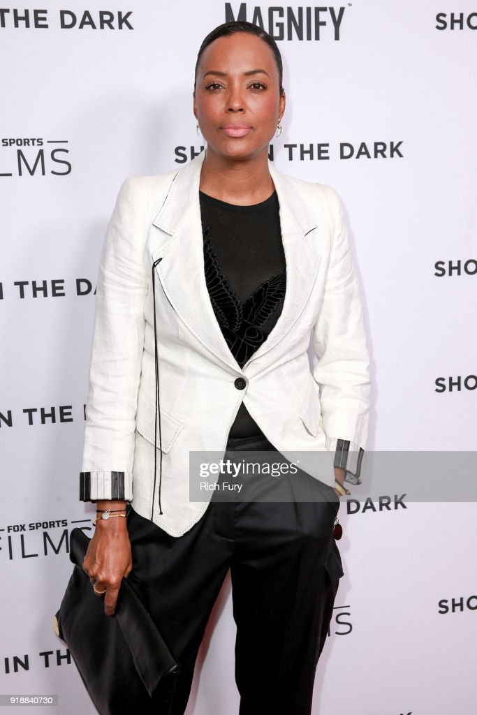 Aisha Tyler attends Magnify and Fox Sports Films' 'Shot In The Dark' premiere documentary screening and panel discussion at Pacific Design Center on February 15, 2018 in West Hollywood, California.