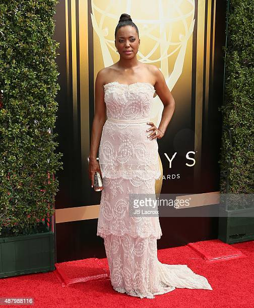 Aisha Tyler attends the 2015 Creative Arts Emmy Awards at Microsoft Theater on September 12 2015 in Los Angeles California