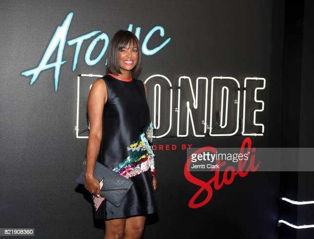 Aisha Tyler attends the American premiere of Atomic Blonde starring Oscar awardwinning actress Charlize Theron at The Theatre At The Ace Hotel on...