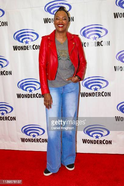 Aisha Tyler attends the Archer press room at WonderCon 2019 Day 3 at Anaheim Convention Center on March 31 2019 in Anaheim California