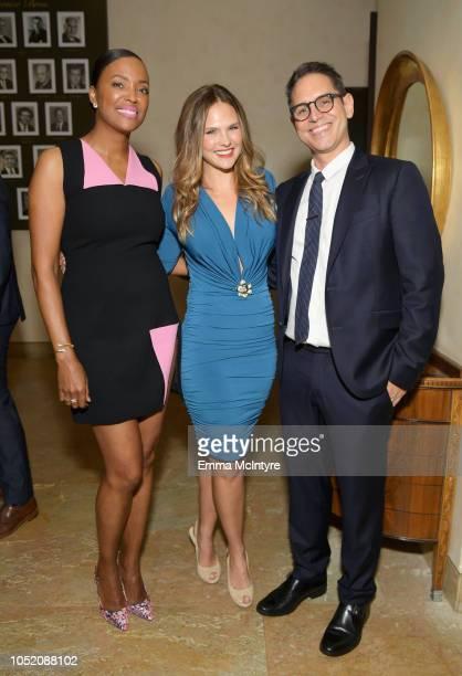 Aisha Tyler Cassandra Jean and Chairman/Board Member FCancer Greg Berlanti attend the Barbara Berlanti Heroes Gala Benefitting FCancer at Warner Bros...