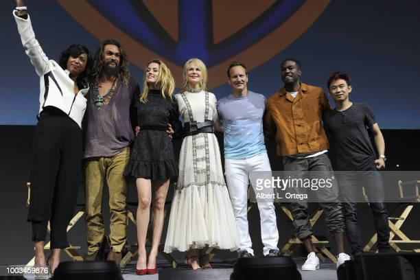 Aisha Tyler Jason Momoa Amber Heard Nicole Kidman Patrick Wilson Yahya AbdulMateen II and James Wan bow onstage at the Warner Bros 'Aquaman'...