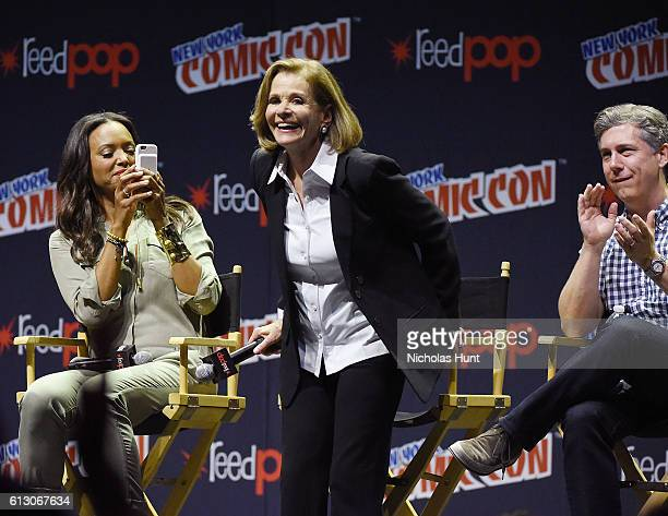 Aisha Tyler Jessica Walter and Chris Parnell speak at Archer panel during day 1 of 2016 New York Comic Con at Hammerstein Ballroom on October 6 2016...