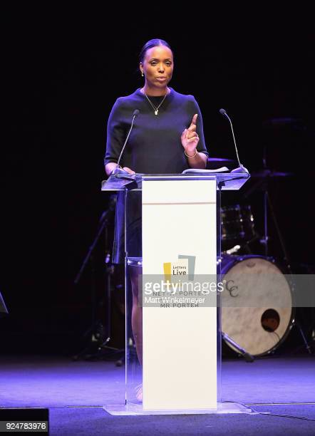 Aisha Tyler performs onstage at NETAPORTER and MR PORTER partner with Letters Live on February 26 2018 in Los Angeles California