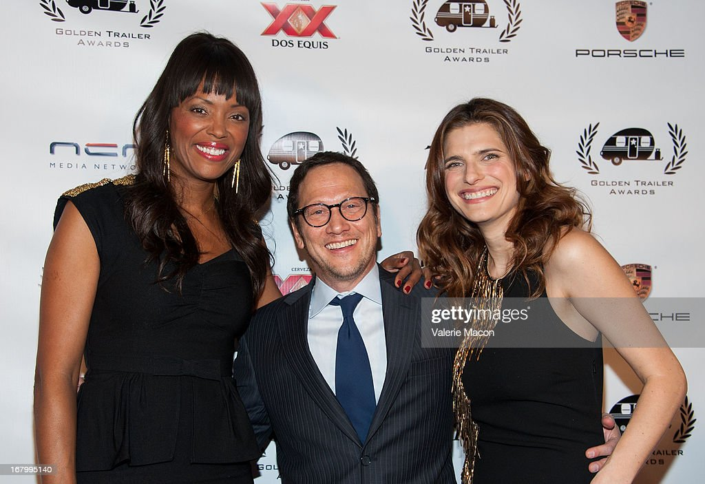 Aisha Tyler, Rob Schneider and Lake Bell arrive at the 14th Annual Golden Trailer Award at Saban Theatre on May 3, 2013 in Beverly Hills, California.