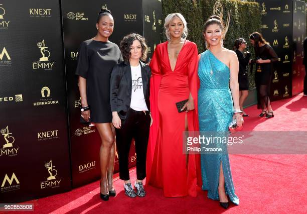 Aisha Tyler Sara Gilbert Eve and Julie Chen attend the 45th annual Daytime Emmy Awards at Pasadena Civic Auditorium on April 29 2018 in Pasadena...