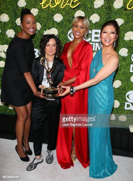 Aisha Tyler Sara Gilbert Eve and Julie Chen attend the CBS Daytime Emmy After Party on April 29 2018 in Pasadena California