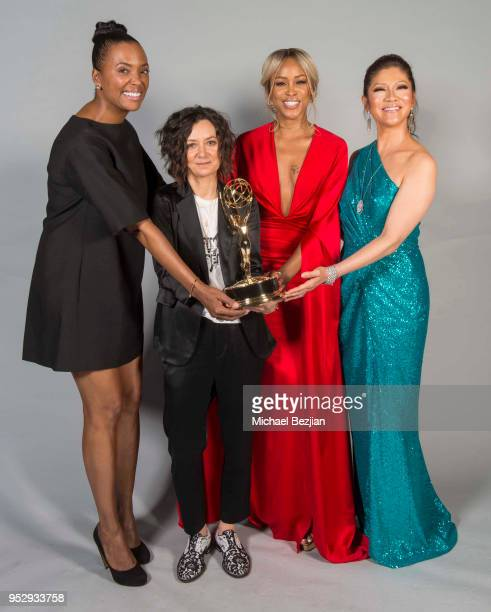 Aisha Tyler Sara Gilbert Eve and Julie Chen pose for portrait at 45th Daytime Emmy Awards Portraits by The Artists Project Sponsored by the Visual...