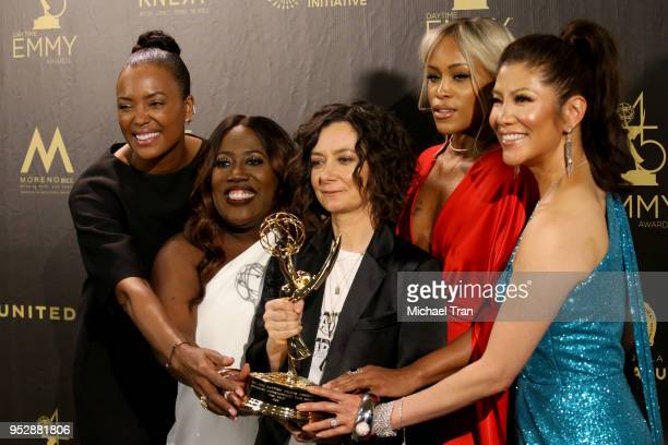 Aisha Tyler Sheryl Underwood Sara Gilbert Eve and Julie Chen winners of Outstanding Talk Show Entertainment for 'The Talk' pose in the press room...