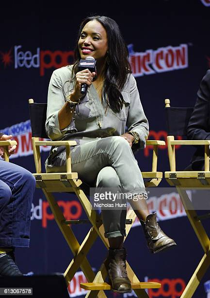 Aisha Tyler speaks at Archer panel during day 1 of 2016 New York Comic Con at Hammerstein Ballroom on October 6 2016 in New York City