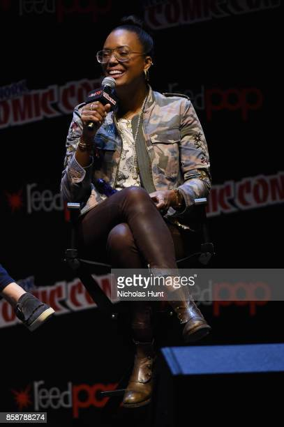Aisha Tyler speaks at the Archer Danger Island Screening and QA panel during 2017 New York Comic Con Day 3 on October 7 2017 in New York City