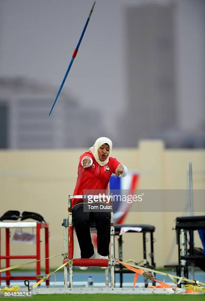 Aishah Salem Bani Khaled of UAE competes in Javelin Wheelchair Women during the 9th Fazza International IPC Athletics Grand Prix Competition World...