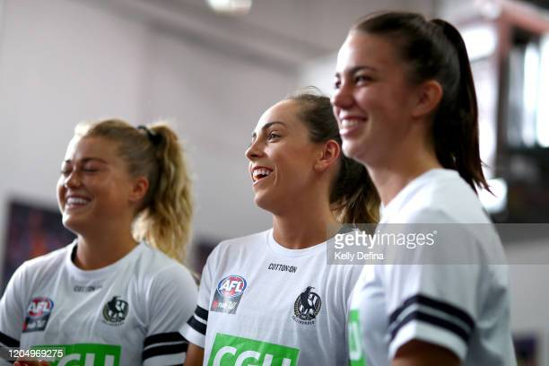 Aishling Sheridan of the Magpies reacts in the guernsey presentation during the round one AFLW match between the Collingwood Magpies and the West...