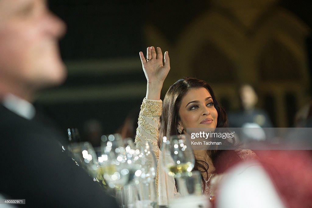 Aishwariya Rai Bachchan attends the inaugural amfAR India event at the Taj Mahal Palace Mumbai on November 17 2013 in Mumbai India